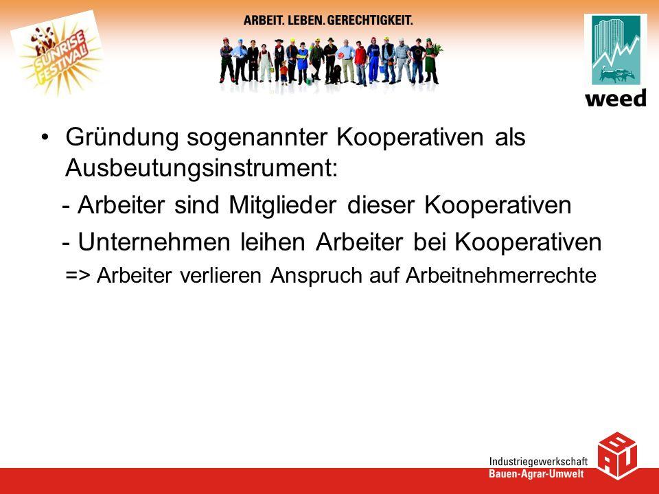 Gründung sogenannter Kooperativen als Ausbeutungsinstrument:
