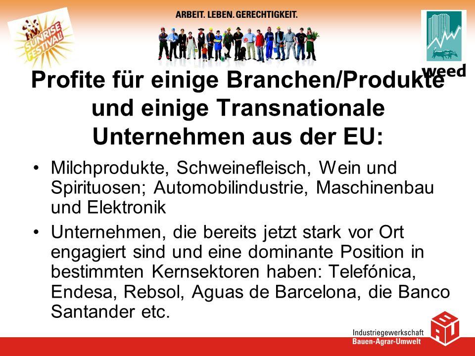 Profite für einige Branchen/Produkte und einige Transnationale Unternehmen aus der EU: