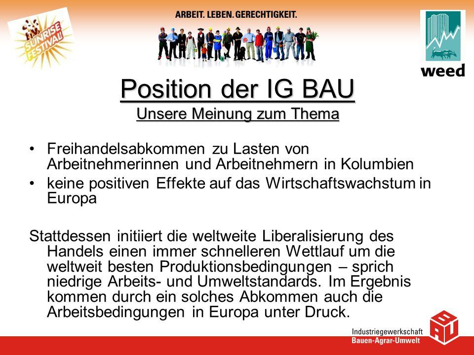 Position der IG BAU Unsere Meinung zum Thema
