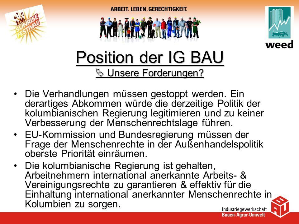 Position der IG BAU  Unsere Forderungen