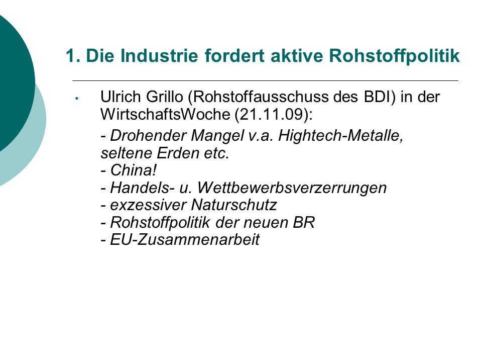 1. Die Industrie fordert aktive Rohstoffpolitik