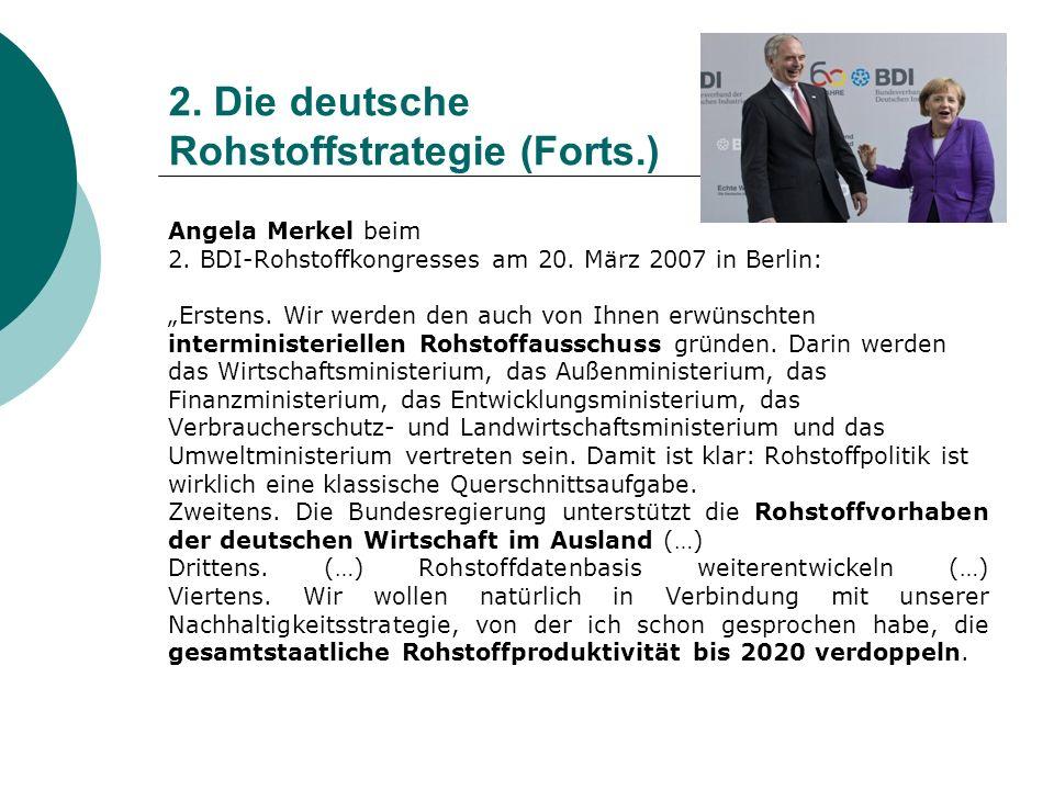 2. Die deutsche Rohstoffstrategie (Forts.)