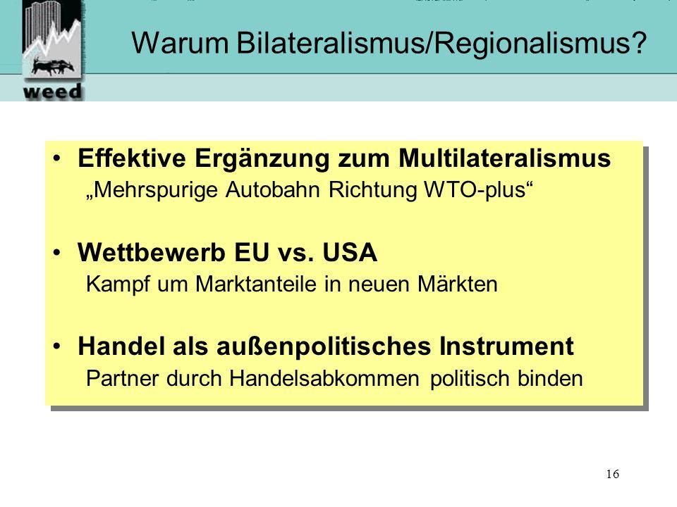 Warum Bilateralismus/Regionalismus