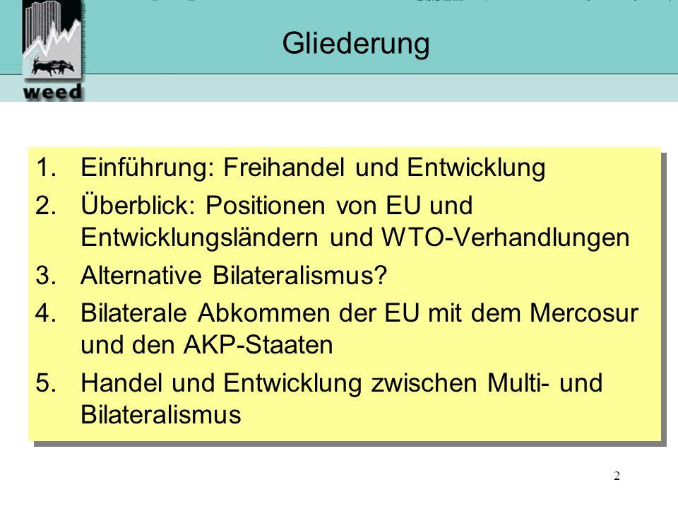 Gliederung Einführung: Freihandel und Entwicklung