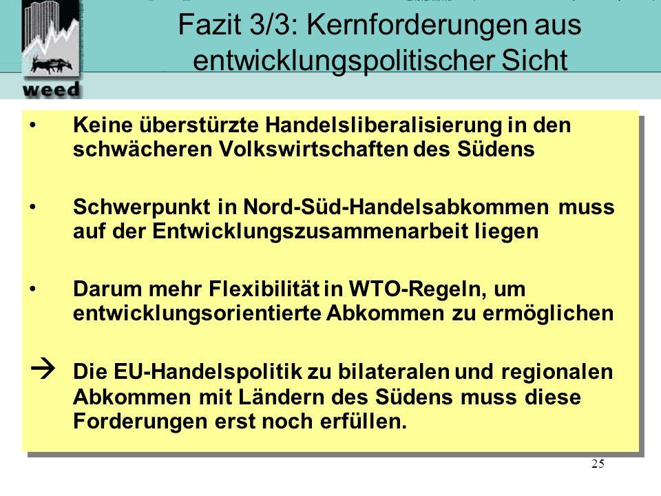 Fazit 3/3: Kernforderungen aus entwicklungspolitischer Sicht