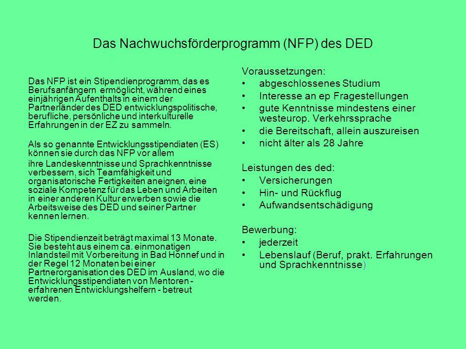 Das Nachwuchsförderprogramm (NFP) des DED