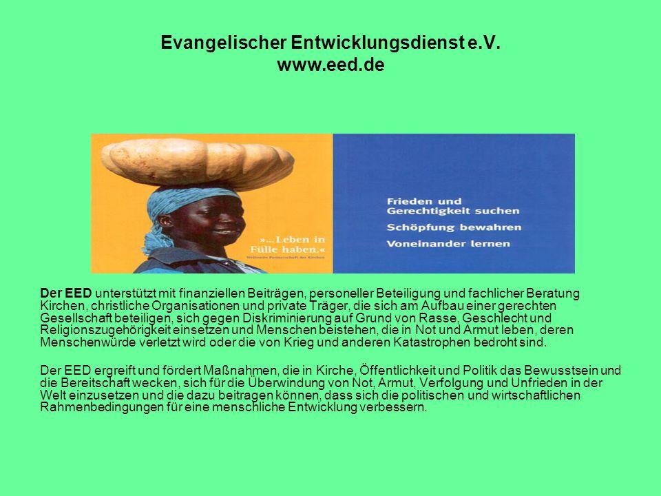 Evangelischer Entwicklungsdienst e.V. www.eed.de