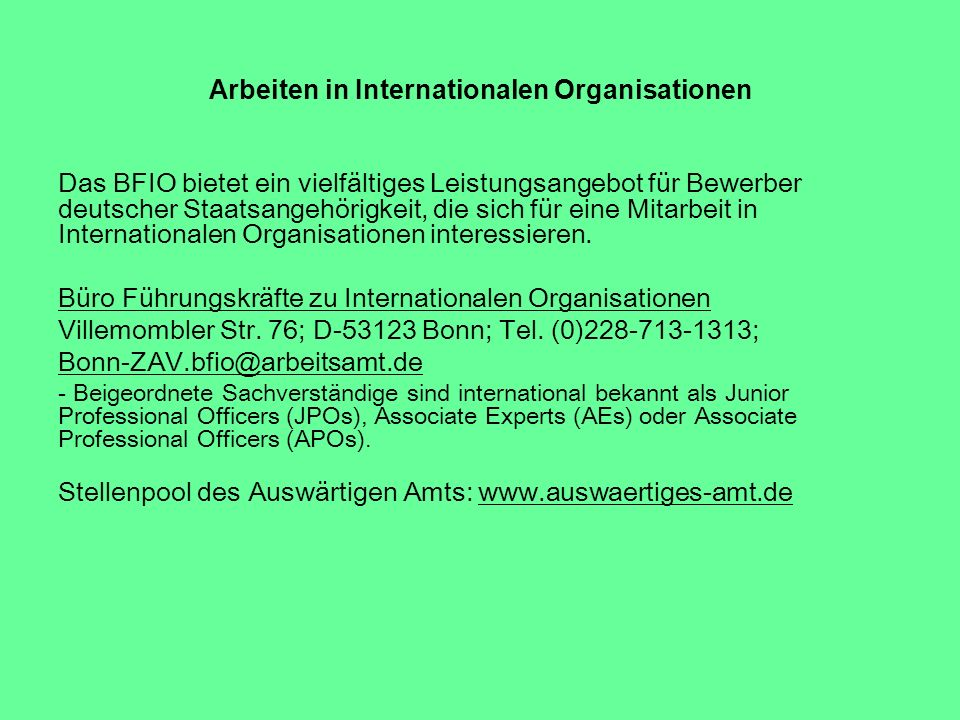 Arbeiten in Internationalen Organisationen