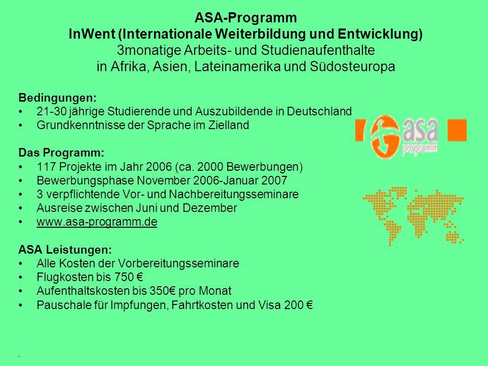 ASA-Programm InWent (Internationale Weiterbildung und Entwicklung) 3monatige Arbeits- und Studienaufenthalte in Afrika, Asien, Lateinamerika und Südosteuropa