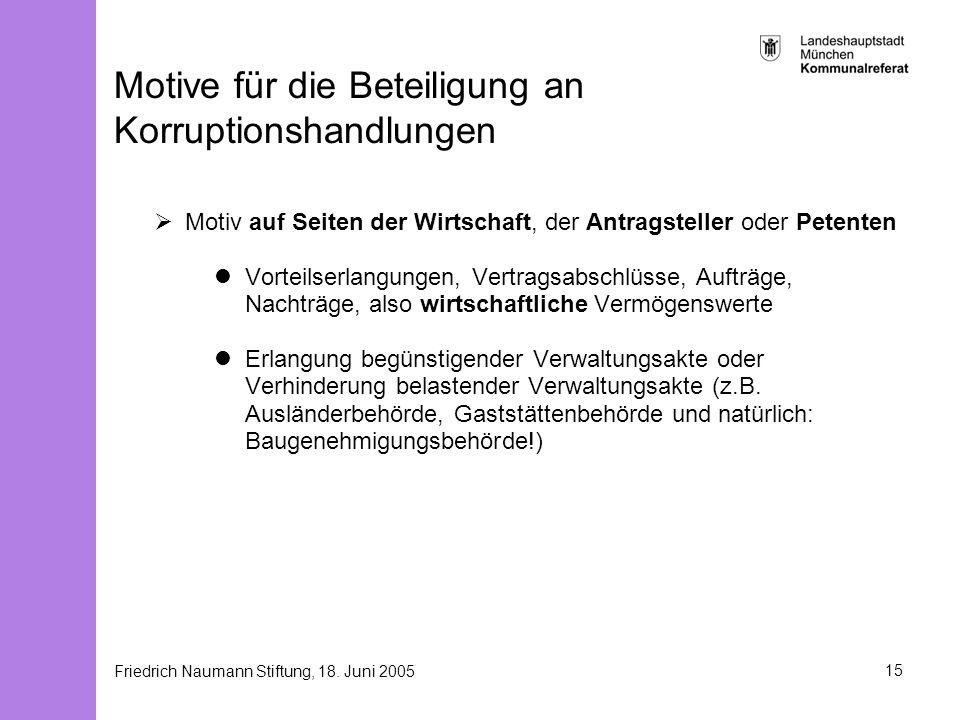 Motive für die Beteiligung an Korruptionshandlungen