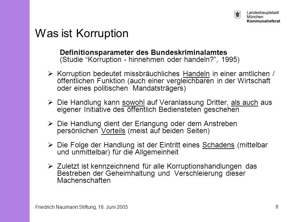 Was ist Korruption Definitionsparameter des Bundeskriminalamtes