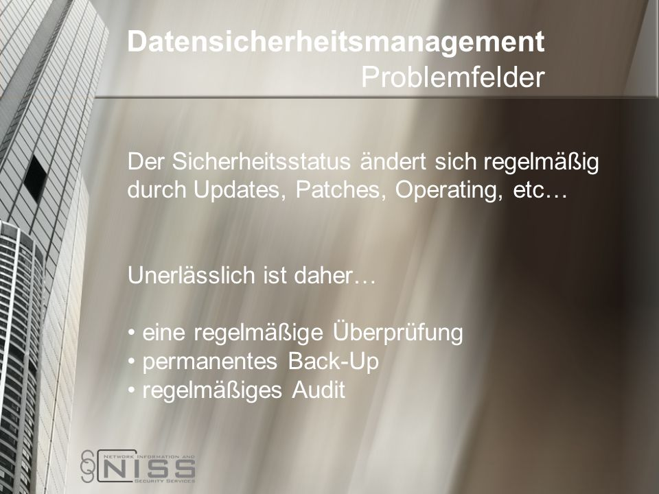 Datensicherheitsmanagement Problemfelder