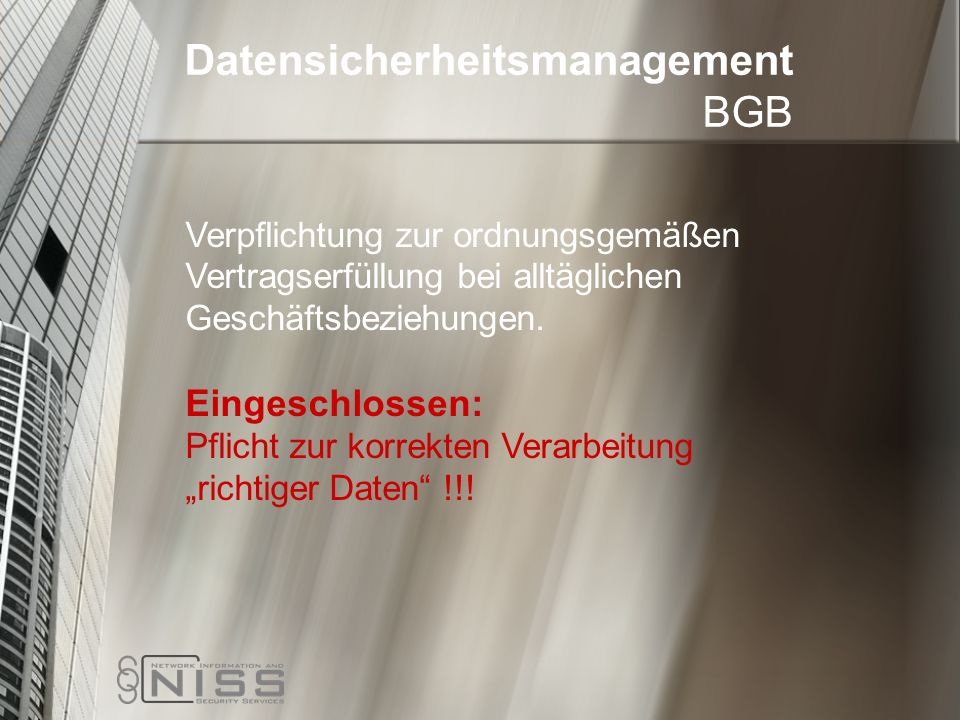 Datensicherheitsmanagement BGB