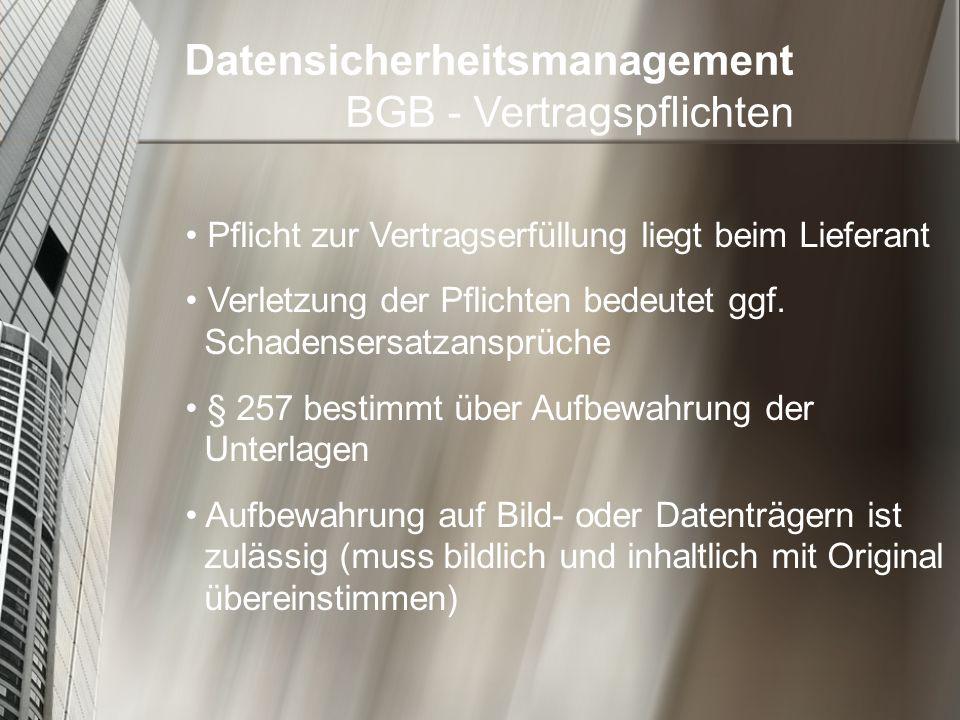 Datensicherheitsmanagement BGB - Vertragspflichten
