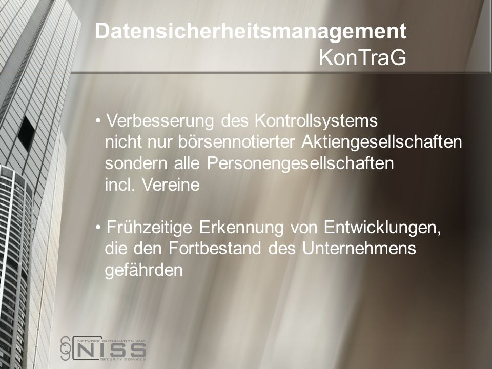 Datensicherheitsmanagement KonTraG