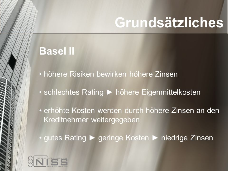 Grundsätzliches Basel II höhere Risiken bewirken höhere Zinsen