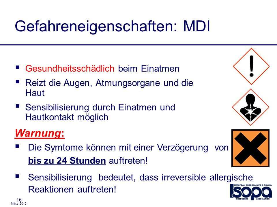 Gefahreneigenschaften: MDI