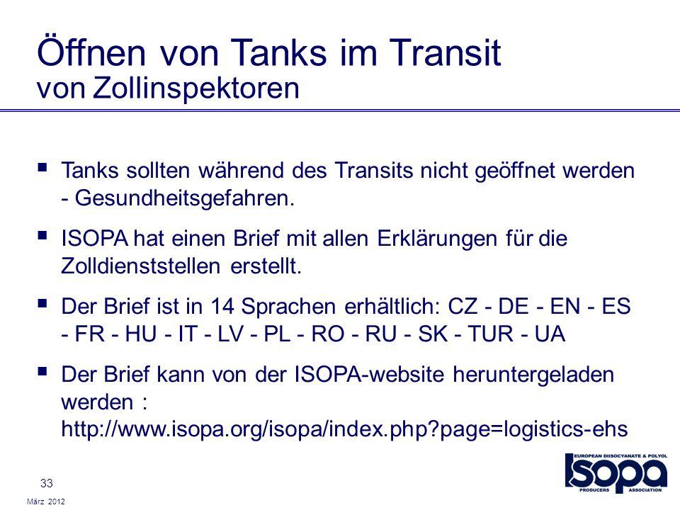 Öffnen von Tanks im Transit von Zollinspektoren