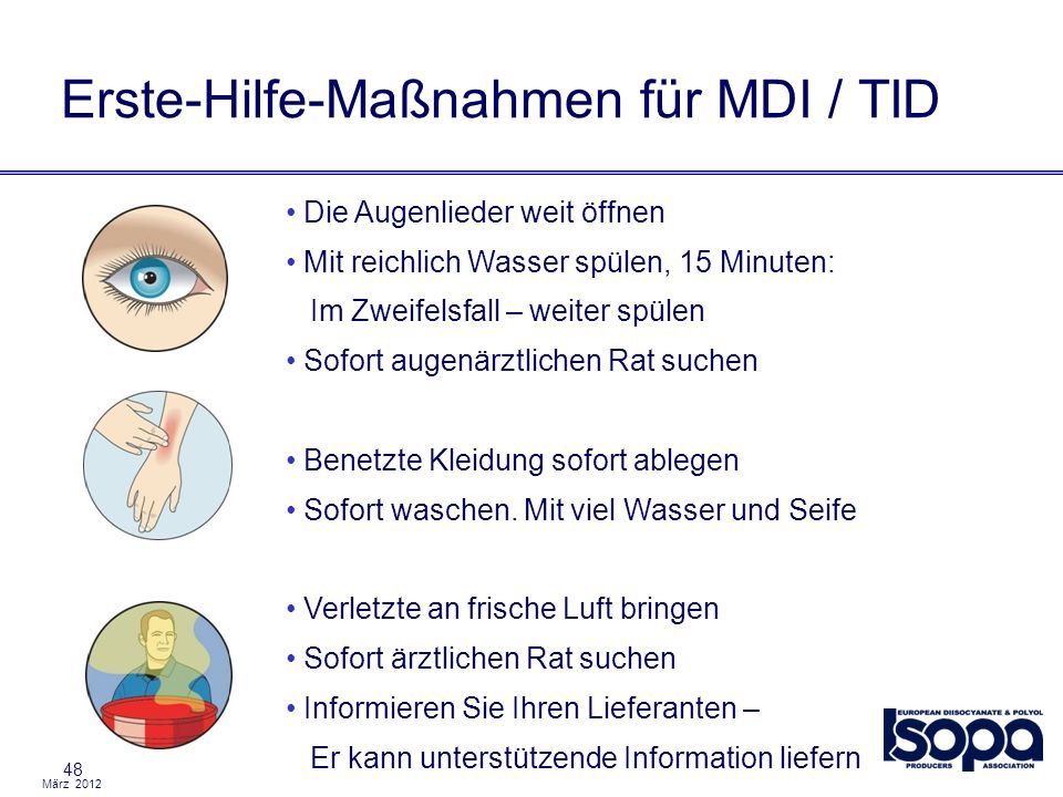Erste-Hilfe-Maßnahmen für MDI / TID