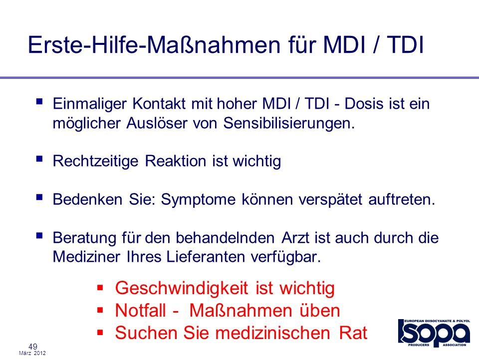 Erste-Hilfe-Maßnahmen für MDI / TDI