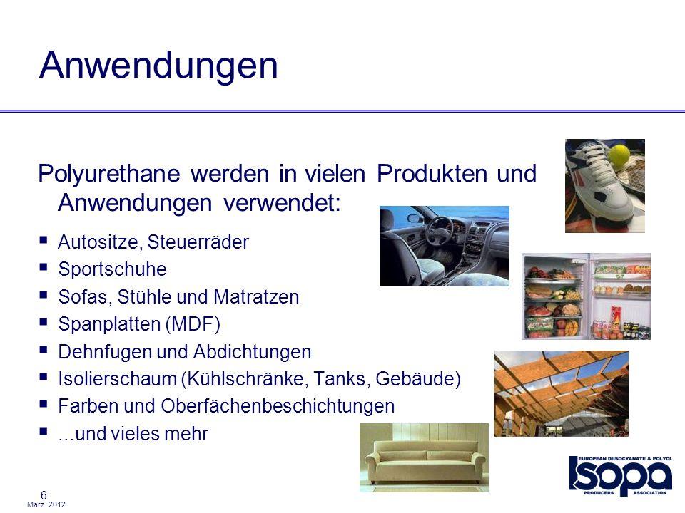 Anwendungen Polyurethane werden in vielen Produkten und Anwendungen verwendet: Autositze, Steuerräder.