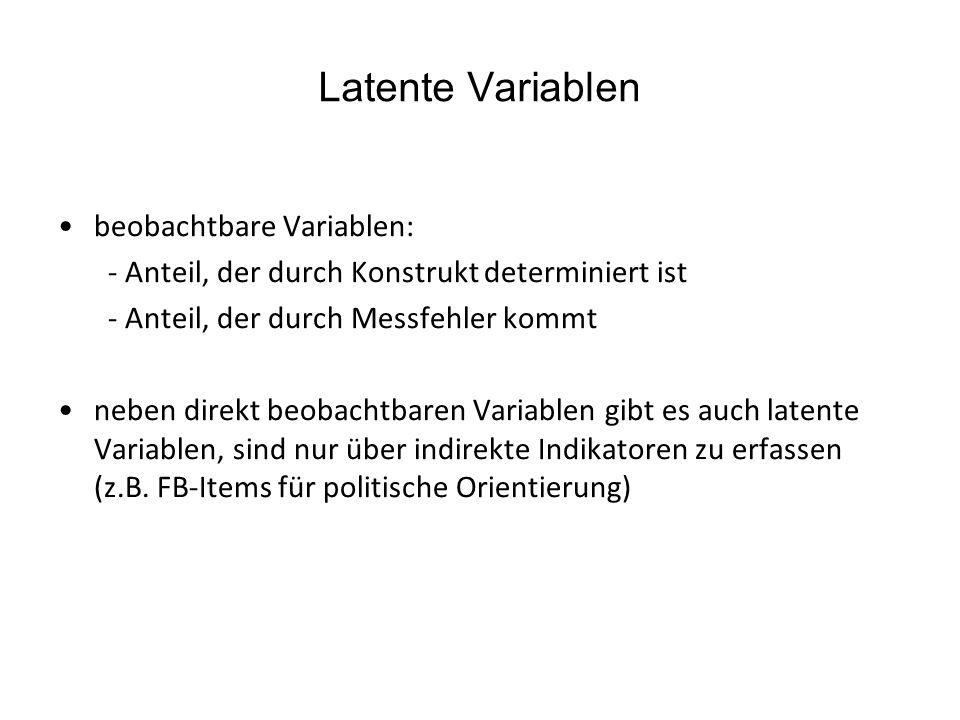 Latente Variablen beobachtbare Variablen: