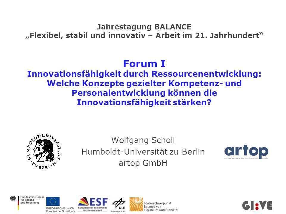 Wolfgang Scholl Humboldt-Universität zu Berlin artop GmbH