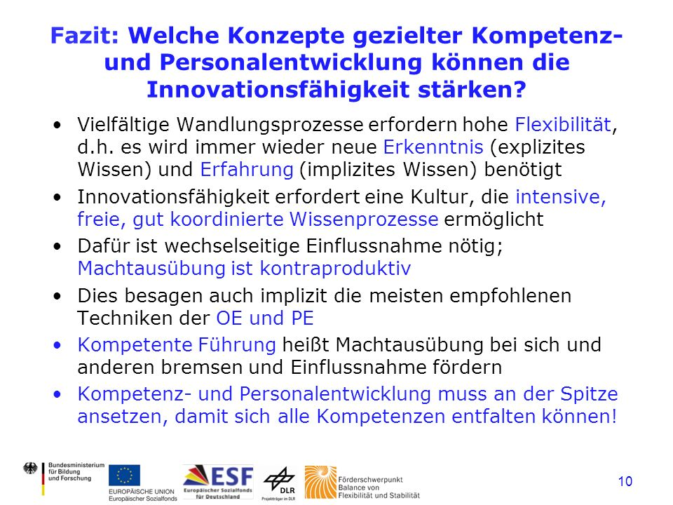 Fazit: Welche Konzepte gezielter Kompetenz- und Personalentwicklung können die Innovationsfähigkeit stärken
