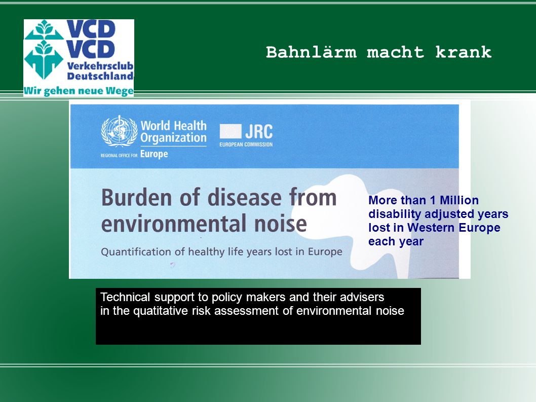 Bahnlärm macht krank More than 1 Million disability adjusted years lost in Western Europe each year.