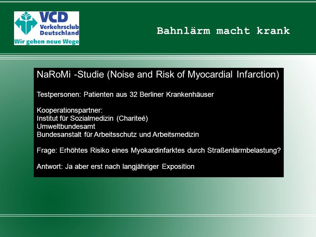 Bahnlärm macht krank NaRoMi -Studie (Noise and Risk of Myocardial Infarction) Testpersonen: Patienten aus 32 Berliner Krankenhäuser.