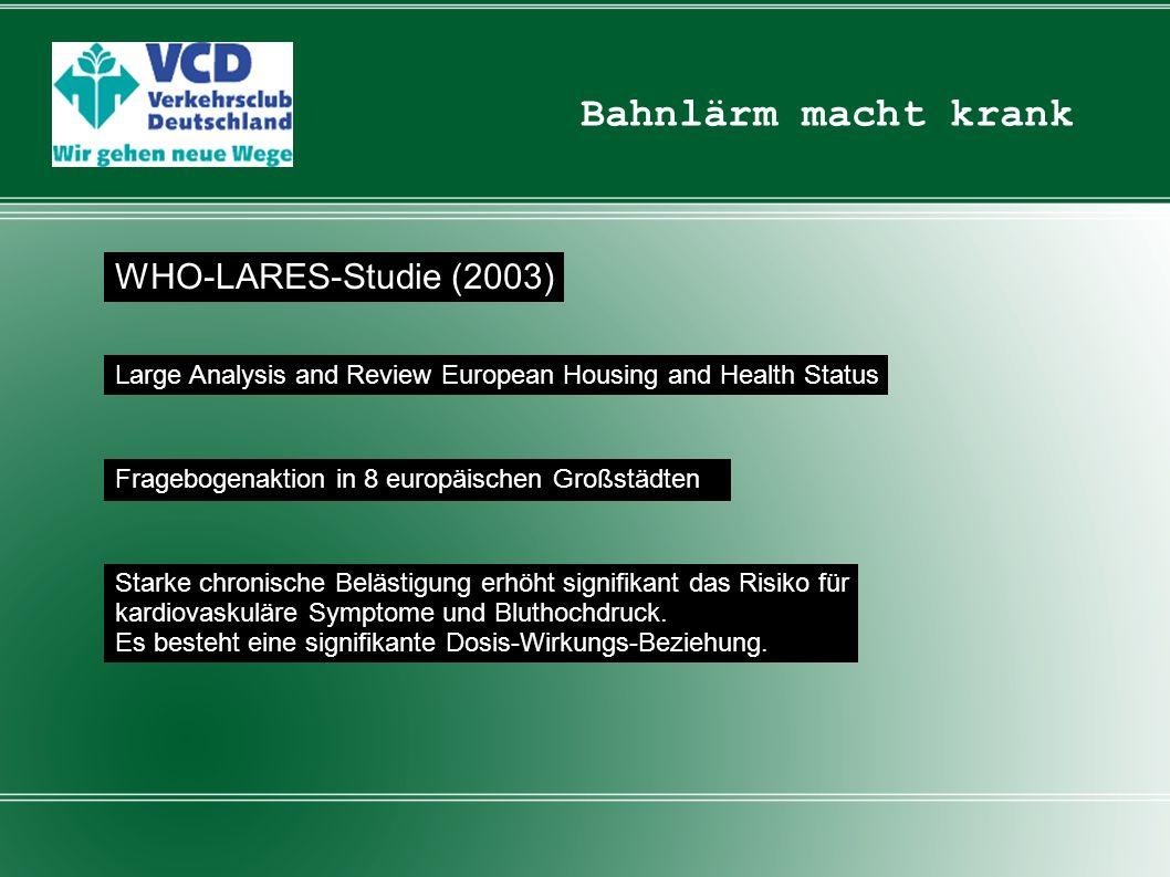 Bahnlärm macht krank WHO-LARES-Studie (2003)