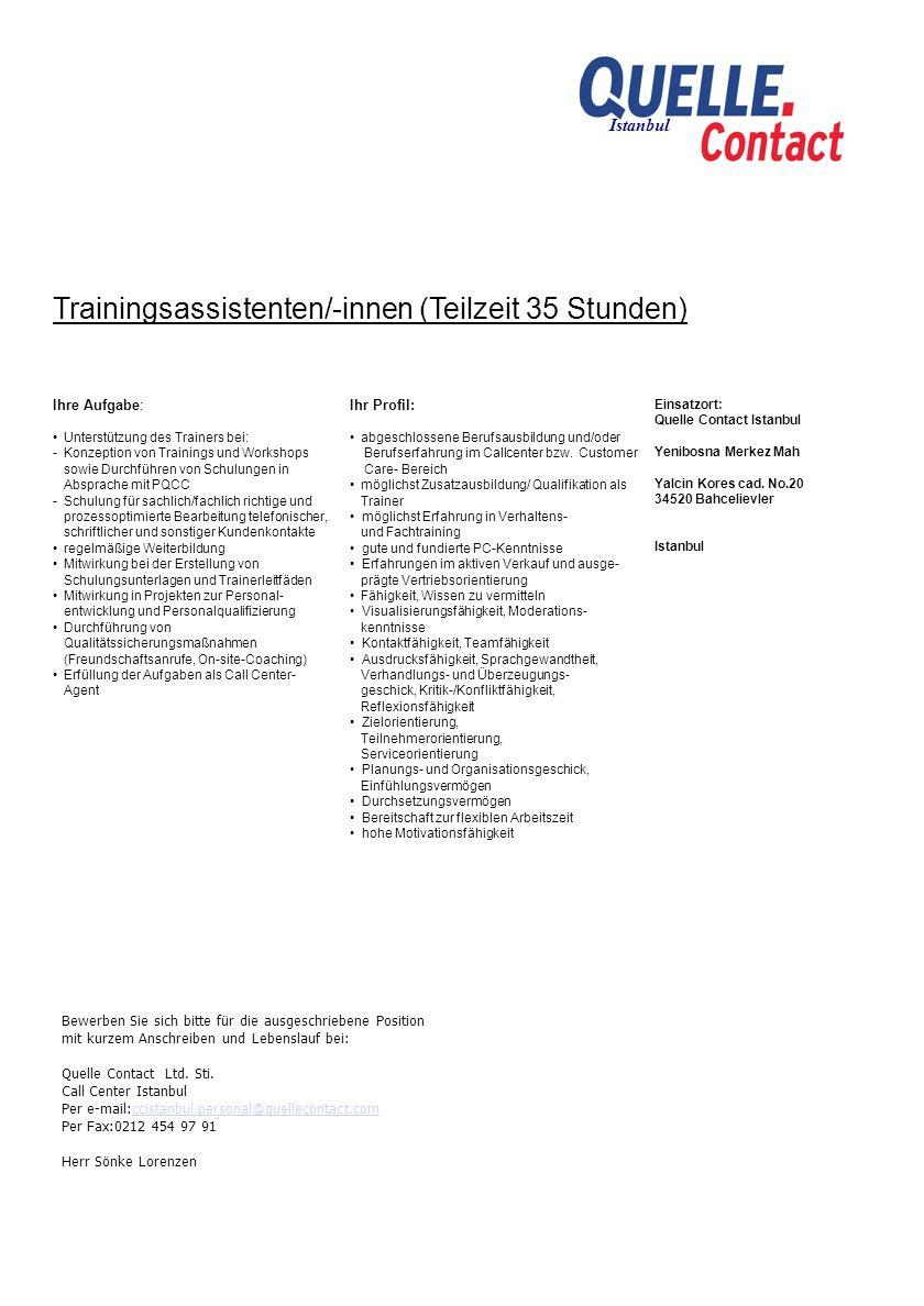 Trainingsassistenten/-innen (Teilzeit 35 Stunden)