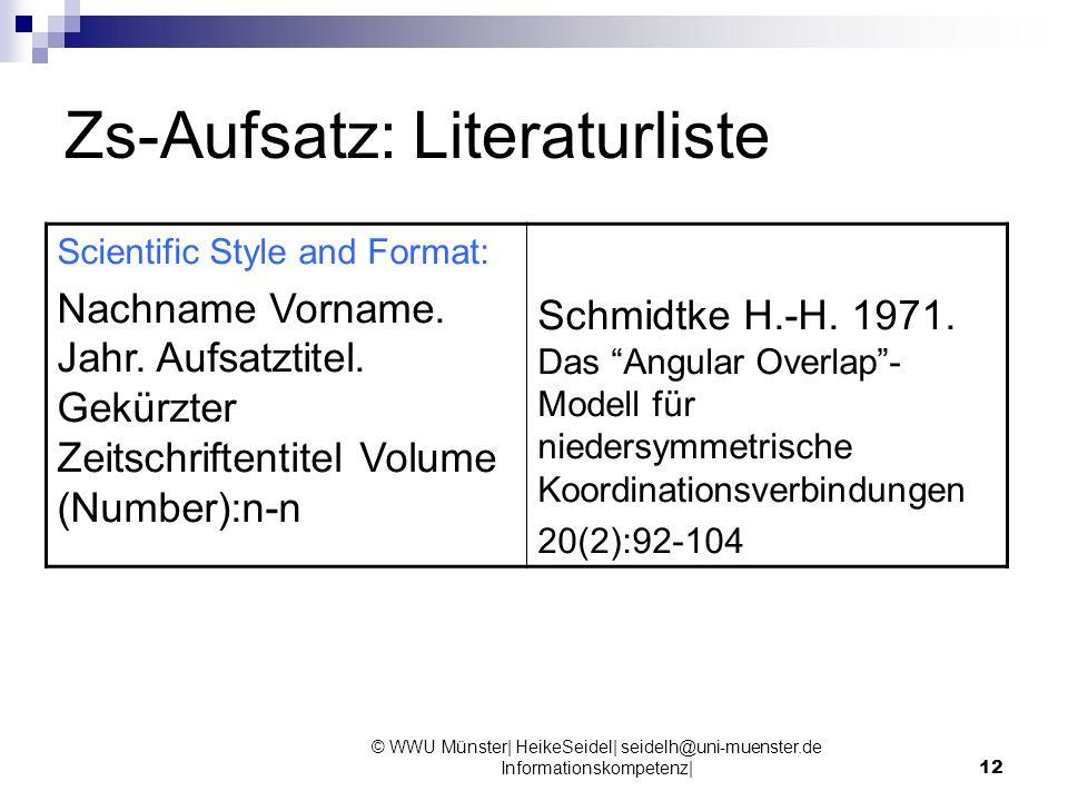 Zs-Aufsatz: Literaturliste