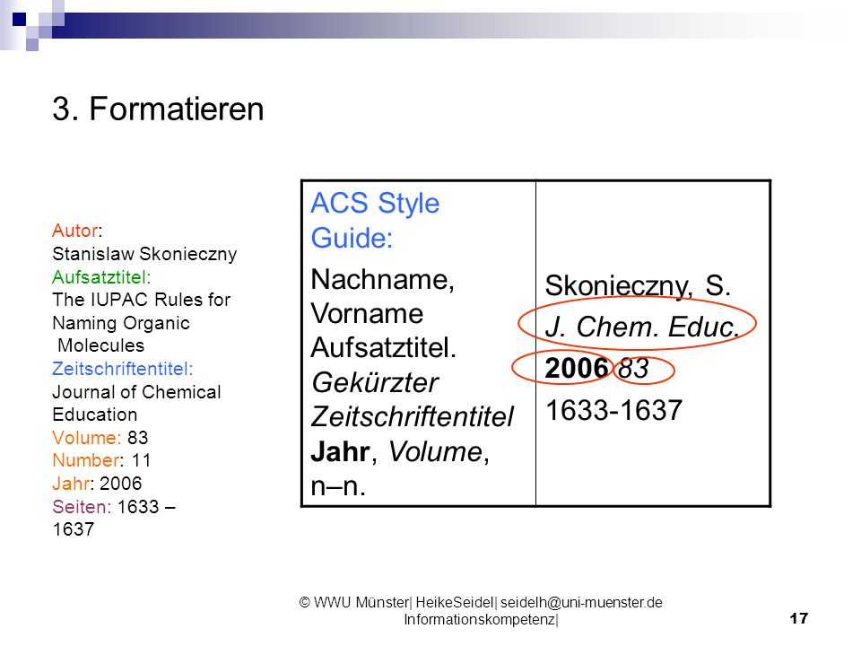 3. Formatieren ACS Style Guide: