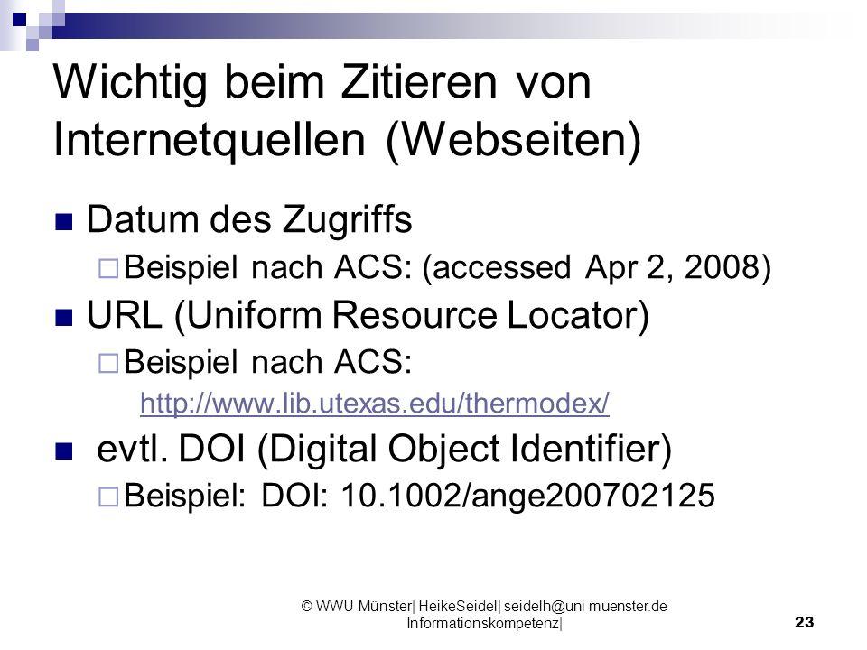 Wichtig beim Zitieren von Internetquellen (Webseiten)