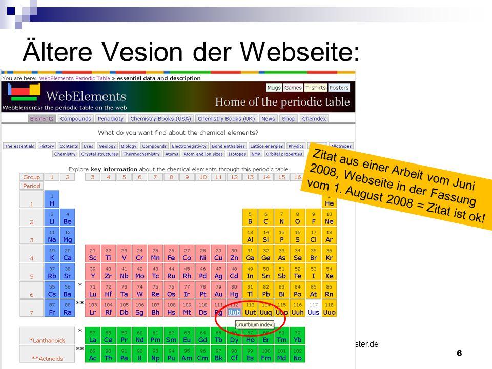 Ältere Vesion der Webseite: