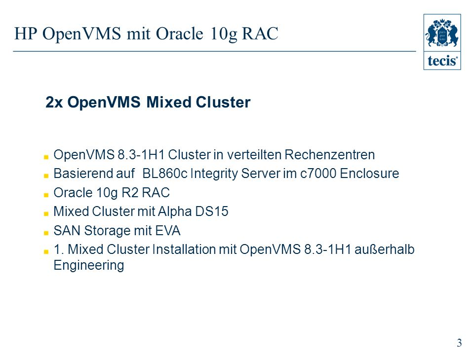 HP OpenVMS mit Oracle 10g RAC