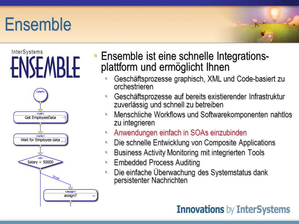Ensemble Ensemble ist eine schnelle Integrations-plattform und ermöglicht Ihnen. Geschäftsprozesse graphisch, XML und Code-basiert zu orchestrieren.