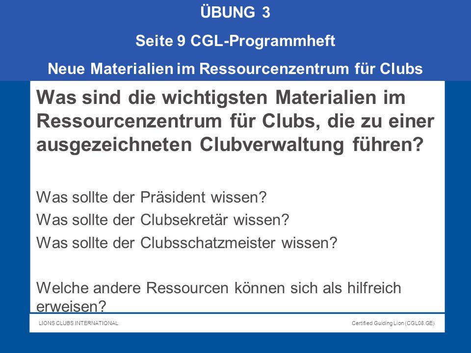 ÜBUNG 3 Seite 9 CGL-Programmheft. Neue Materialien im Ressourcenzentrum für Clubs.