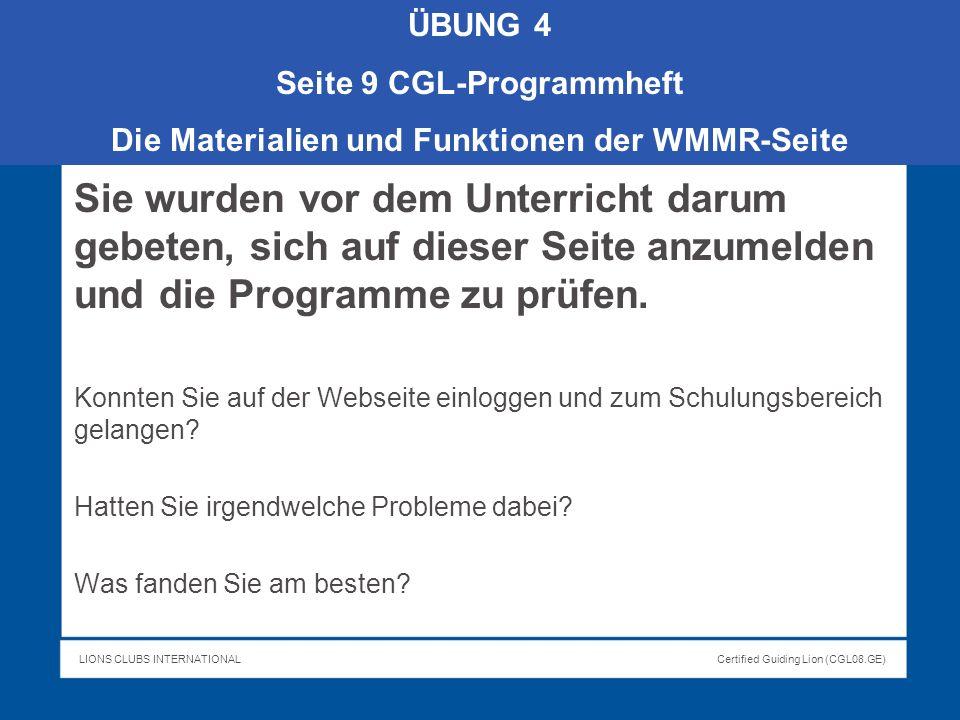 Seite 9 CGL-Programmheft Die Materialien und Funktionen der WMMR-Seite