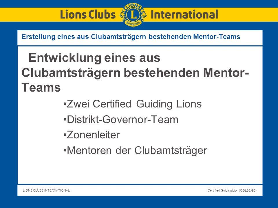 Erstellung eines aus Clubamtsträgern bestehenden Mentor-Teams