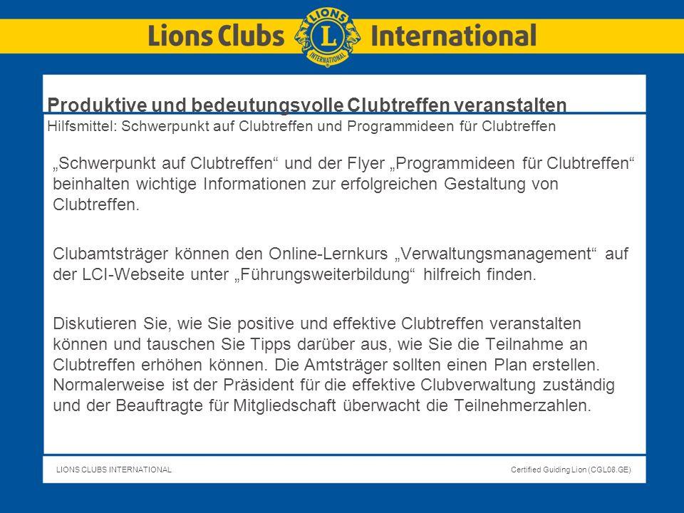 Produktive und bedeutungsvolle Clubtreffen veranstalten Hilfsmittel: Schwerpunkt auf Clubtreffen und Programmideen für Clubtreffen