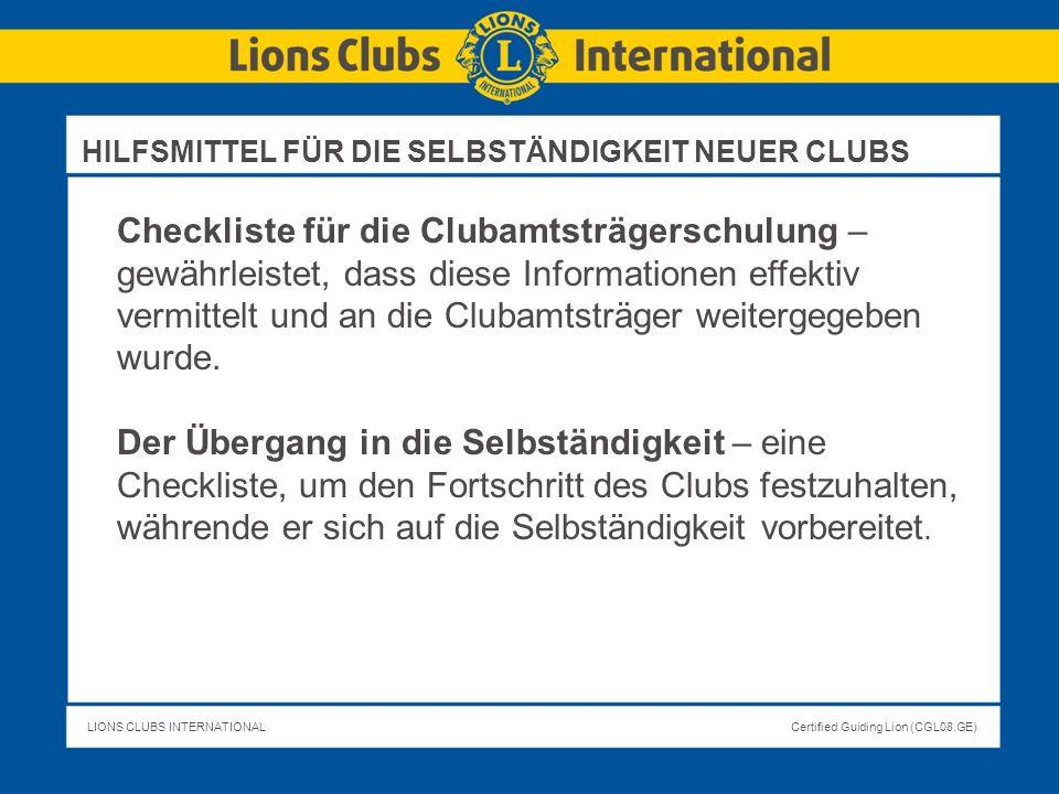 HILFSMITTEL FÜR DIE SELBSTÄNDIGKEIT NEUER CLUBS