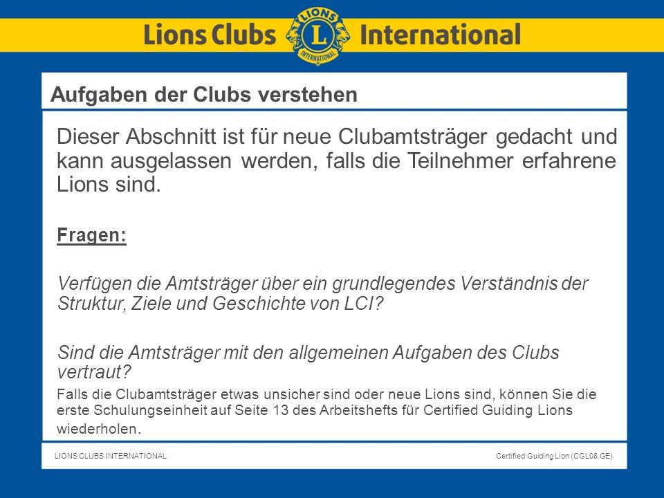 Aufgaben der Clubs verstehen