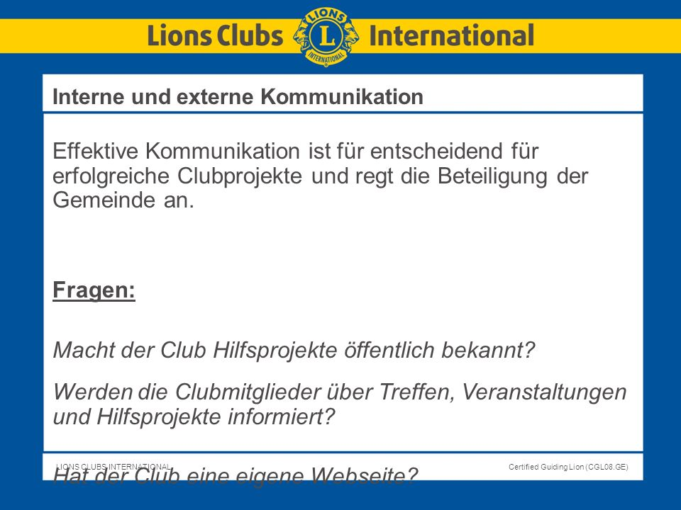 Macht der Club Hilfsprojekte öffentlich bekannt