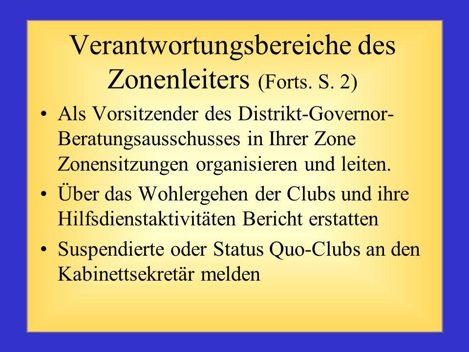 Verantwortungsbereiche des Zonenleiters (Forts. S. 2)