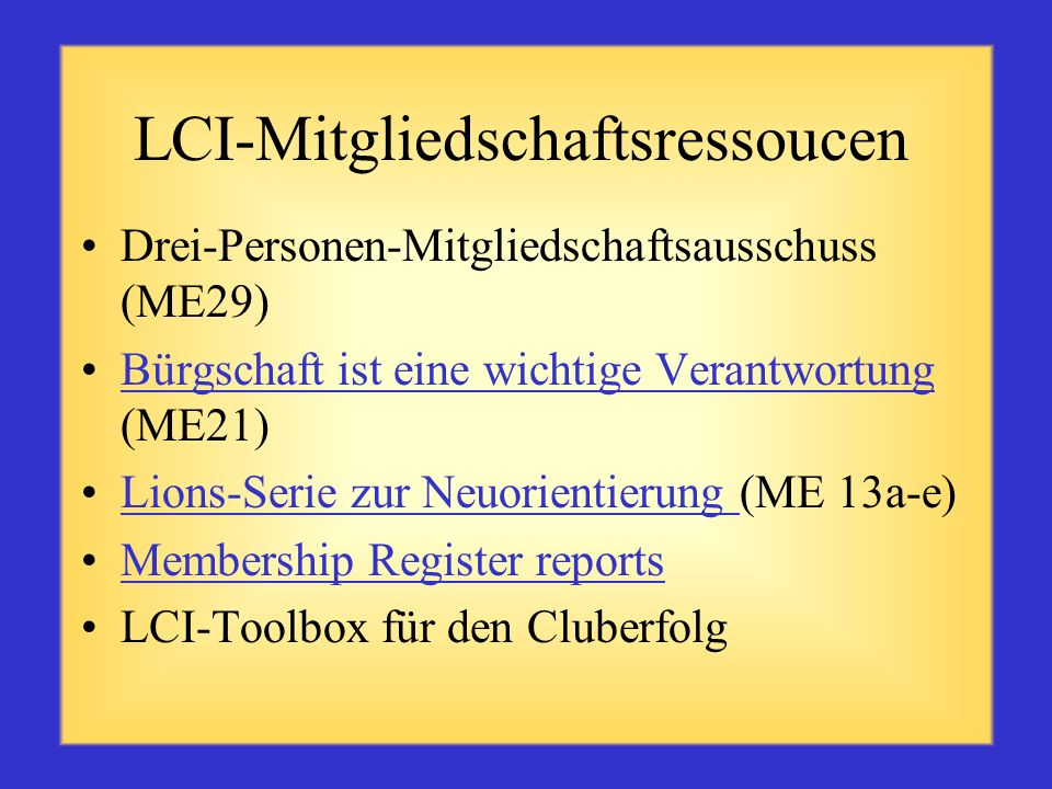 LCI-Mitgliedschaftsressoucen