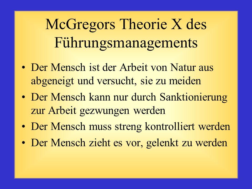 McGregors Theorie X des Führungsmanagements