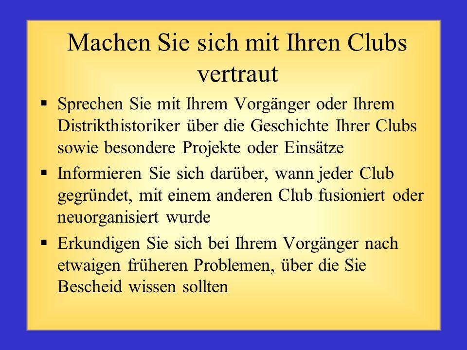 Machen Sie sich mit Ihren Clubs vertraut