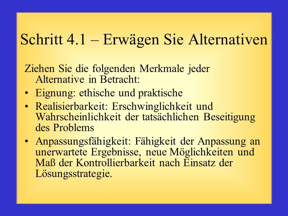 Schritt 4.1 – Erwägen Sie Alternativen